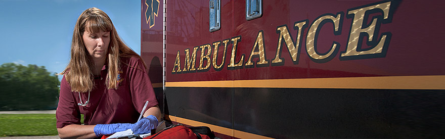 Delavan Ambulance EMT making notes